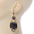 Victorian Style Black Acrylic Bead, Crystal Chandelier Earrings In Antique Gold Tone - 80mm L - view 6