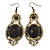 Victorian Style Black Acrylic Bead, Crystal Chandelier Earrings In Antique Gold Tone - 80mm L