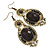 Victorian Style Black Acrylic Bead, Crystal Chandelier Earrings In Antique Gold Tone - 80mm L - view 7