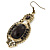 Victorian Style Black Acrylic Bead, Crystal Chandelier Earrings In Antique Gold Tone - 80mm L - view 3