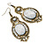 Victorian Style Dusty White Acrylic Bead, Crystal Chandelier Earrings In Antique Gold Tone - 80mm L - view 7