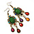 Multicoloured Acrylic Bead Chandelier Earrings In Antique Gold Tone - 75mm L - view 6