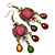 Multicoloured Acrylic Bead Chandelier Earrings In Antique Gold Tone - 75mm L - view 5