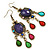 Multicoloured Acrylic Bead Chandelier Earrings In Antique Gold Tone - 75mm L - view 8
