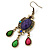 Multicoloured Acrylic Bead Chandelier Earrings In Antique Gold Tone - 75mm L - view 3