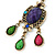 Multicoloured Acrylic Bead Chandelier Earrings In Antique Gold Tone - 75mm L - view 7