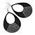 Large Black Enamel With Glitter Oval Hoop Earrings In Silver Tone - 90mm L
