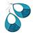 Large Teal Enamel With Glitter Oval Hoop Earrings In Silver Tone - 90mm L