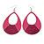 Large Fuchsia Enamel With Glitter Oval Hoop Earrings In Silver Tone - 90mm L - view 6