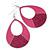 Large Fuchsia Enamel With Glitter Oval Hoop Earrings In Silver Tone - 90mm L