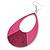 Large Fuchsia Enamel With Glitter Oval Hoop Earrings In Silver Tone - 90mm L - view 5
