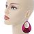 Large Fuchsia Enamel With Glitter Oval Hoop Earrings In Silver Tone - 90mm L - view 2