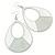 Large White Enamel With Silver Glitter Oval Hoop Earrings In Silver Tone - 90mm L