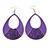 Large Purple Enamel With Glitter Oval Hoop Earrings In Silver Tone - 90mm L - view 7