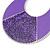 Large Purple Enamel With Glitter Oval Hoop Earrings In Silver Tone - 90mm L - view 5