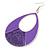 Large Purple Enamel With Glitter Oval Hoop Earrings In Silver Tone - 90mm L - view 3