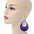 Large Purple Enamel With Glitter Oval Hoop Earrings In Silver Tone - 90mm L - view 2
