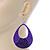 Large Purple Enamel With Glitter Oval Hoop Earrings In Silver Tone - 90mm L - view 6
