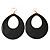 Large Black Enamel Oval Hoop Earrings In Gold Tone - 85mm L - view 6