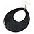 Large Black Enamel Oval Hoop Earrings In Gold Tone - 85mm L - view 3