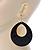 Large Black Enamel Oval Hoop Earrings In Gold Tone - 85mm L - view 5