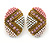 Boho Style Pink/ White/ Pale Pink Beaded Oval Stud Earrings In Gold Tone - 25mm L - view 8