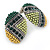 Boho Style Green/ Yellow/ Lime Beaded Oval Stud Earrings In Silver Tone - 25mm L - view 7