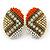 Boho Style Orange/ Cream/ White Beaded Oval Stud Earrings In Gold Tone - 25mm L - view 2