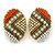 Boho Style Orange/ Cream/ White Beaded Oval Stud Earrings In Gold Tone - 25mm L - view 8