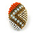 Boho Style Orange/ Cream/ White Beaded Oval Stud Earrings In Gold Tone - 25mm L - view 7