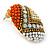 Boho Style Orange/ Cream/ White Beaded Oval Stud Earrings In Gold Tone - 25mm L - view 4
