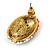 Boho Style Orange/ Cream/ White Beaded Oval Stud Earrings In Gold Tone - 25mm L - view 5