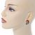 Boho Style Orange/ Cream/ White Beaded Oval Stud Earrings In Gold Tone - 25mm L - view 3