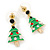 Green Enamel Crystal Christmas Tree Drop Earrings In Gold Plating - 27mm Length - view 6