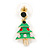 Green Enamel Crystal Christmas Tree Drop Earrings In Gold Plating - 27mm Length - view 7