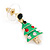 Green Enamel Crystal Christmas Tree Drop Earrings In Gold Plating - 27mm Length - view 3