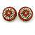 Boho Style Orange/ Cream/ White Beaded Dome Stud Earrings In Gold Tone - 22mm - view 7