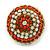 Boho Style Orange/ Cream/ White Beaded Dome Stud Earrings In Gold Tone - 22mm - view 6