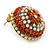 Boho Style Orange/ Cream/ White Beaded Dome Stud Earrings In Gold Tone - 22mm - view 3