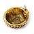 Boho Style Orange/ Cream/ White Beaded Dome Stud Earrings In Gold Tone - 22mm - view 4