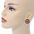 Boho Style Orange/ Cream/ White Beaded Dome Stud Earrings In Gold Tone - 22mm - view 2