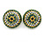 Boho Style Green/ Yellow/ White Beaded Dome Stud Earrings In Silver Tone - 22mm - view 7