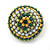 Boho Style Green/ Yellow/ White Beaded Dome Stud Earrings In Silver Tone - 22mm - view 5