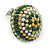 Boho Style Green/ Yellow/ White Beaded Dome Stud Earrings In Silver Tone - 22mm - view 3