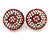 Boho Style Deep Pink/ White/ Baby Pink Beaded Dome Stud Earrings In Gold Tone - 22mm - view 7