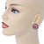 Boho Style Deep Pink/ White/ Baby Pink Beaded Dome Stud Earrings In Gold Tone - 22mm - view 2