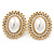 Large Crystal, Pearl Oval Shape Stud Earrings In Gold Plating - 30mm L