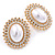 Large Crystal, Pearl Oval Shape Stud Earrings In Gold Plating - 30mm L - view 8