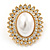 Large Crystal, Pearl Oval Shape Stud Earrings In Gold Plating - 30mm L - view 7