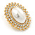 Large Crystal, Pearl Oval Shape Stud Earrings In Gold Plating - 30mm L - view 2